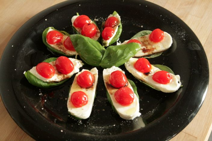 Caprese Tomato Basil and Mozzarella Appetizer