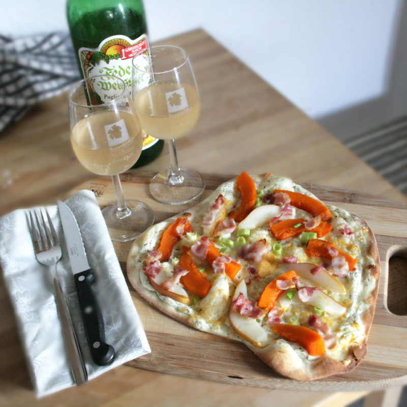 Flammkuchen with Pumpkin and Pears