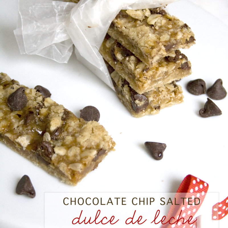 Salted Dulce the Leche Bars with Chocolate Chips