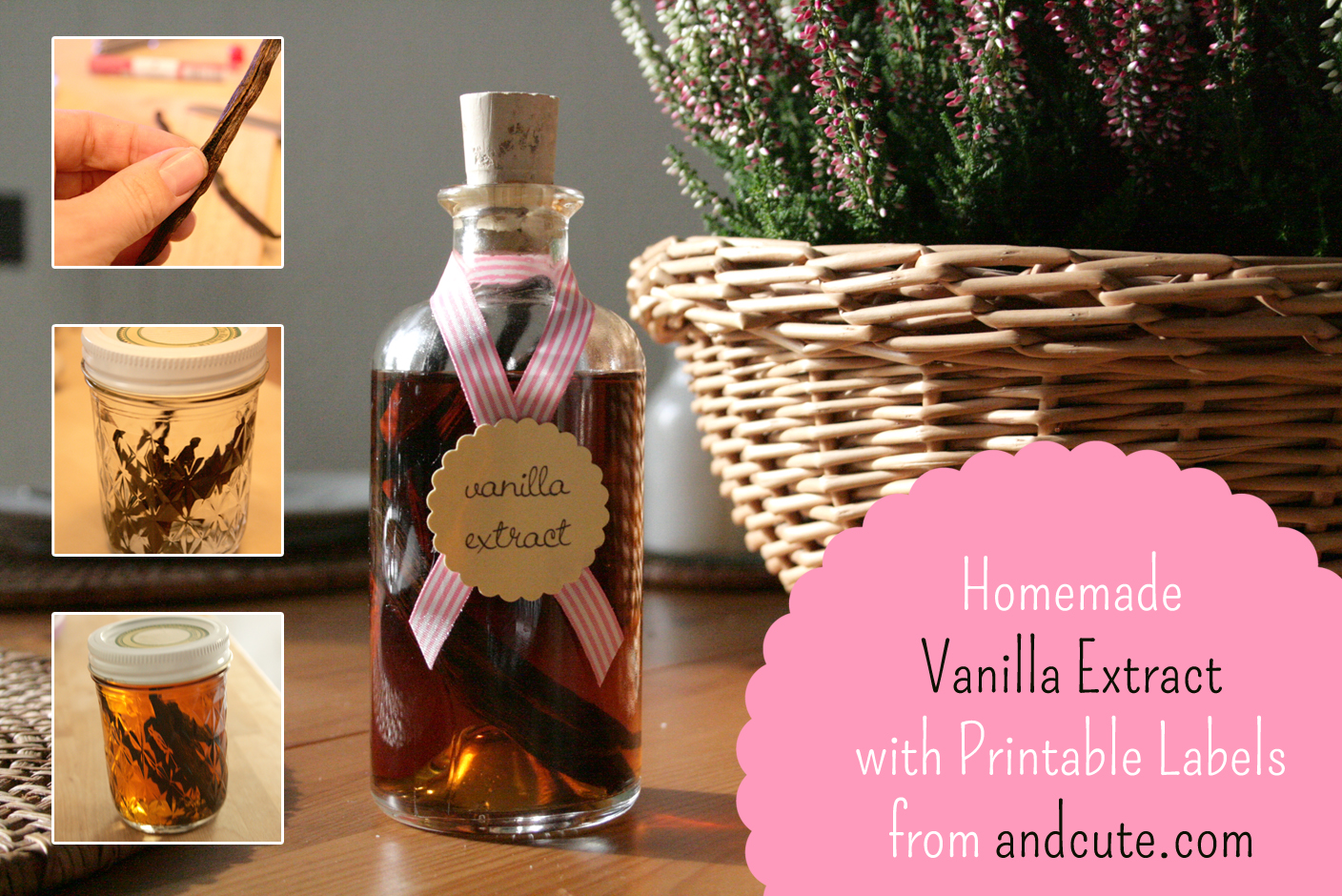 homemade vanilla extract with printable labels