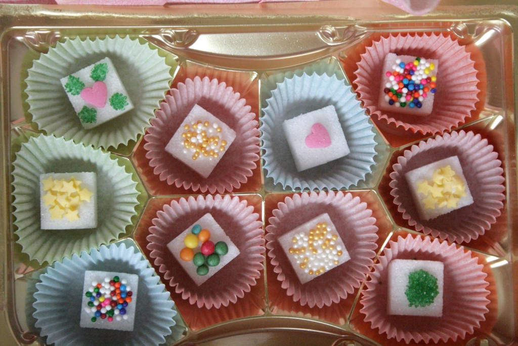 Decorating sugar cubes is just like decorating cookies – if they ...