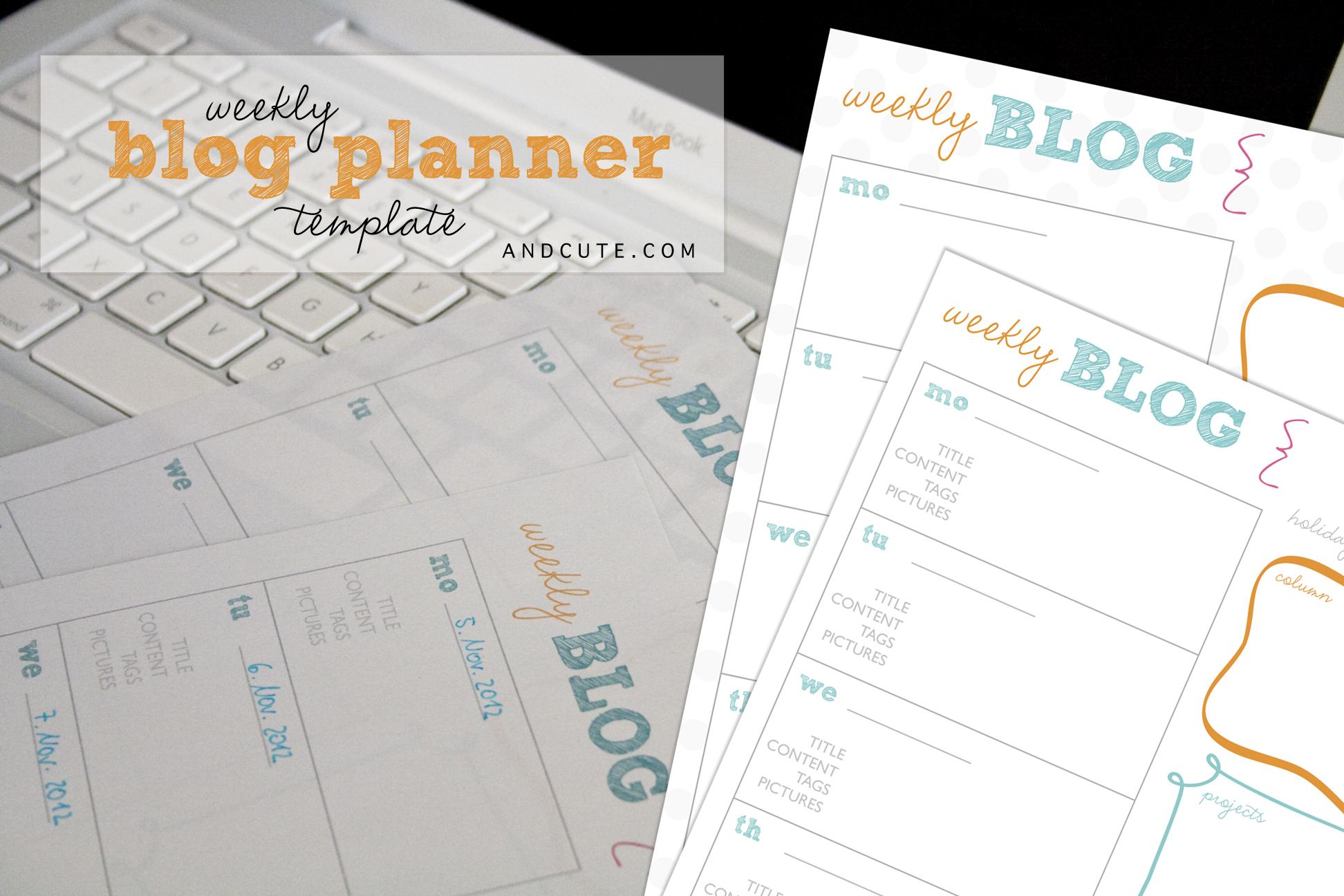 weekly blog planner printable template. Black Bedroom Furniture Sets. Home Design Ideas