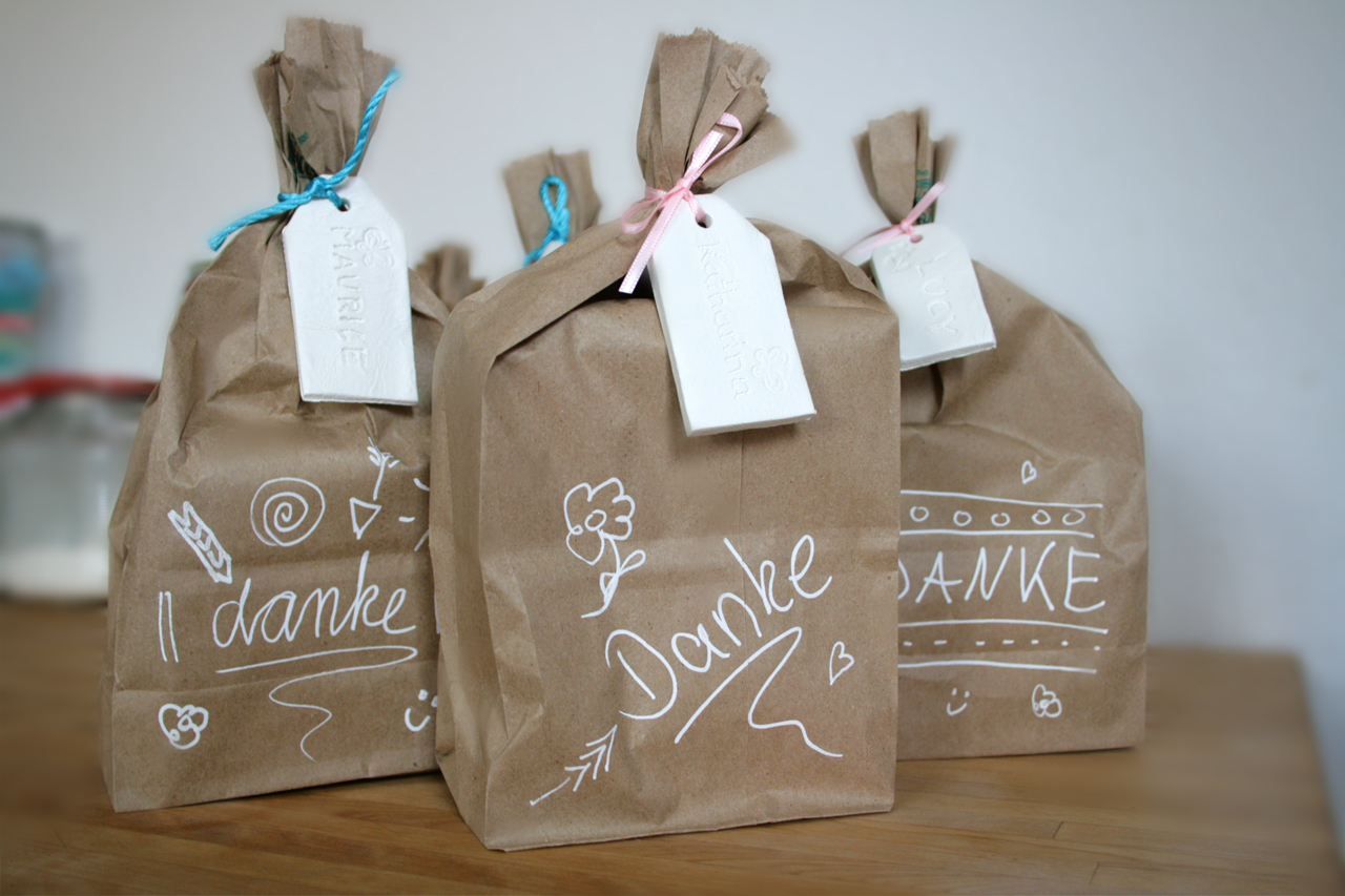 Brown Lunch Bag with Clay Labels