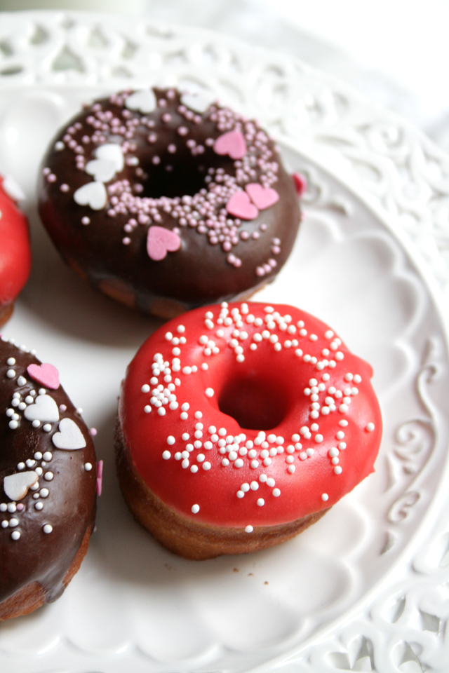 Red Rose and Chocolate Glazed Donuts on Tray