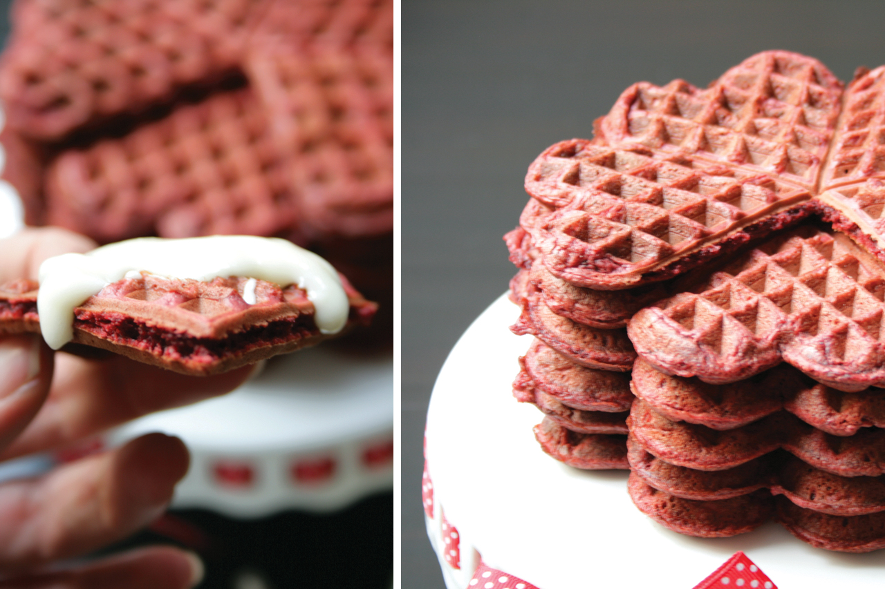 Red Velvet Waffles Stack and Close Up