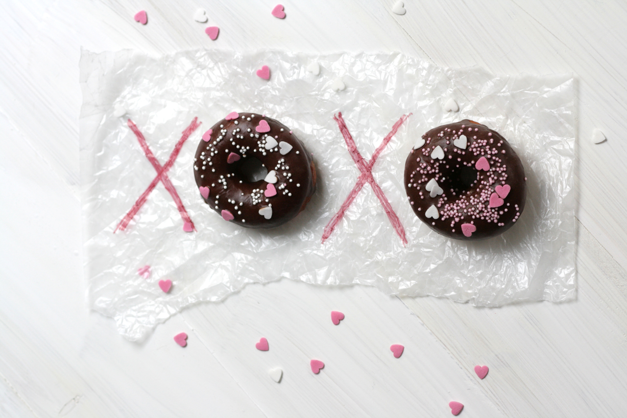 XOXO with Donuts in Wax Paper