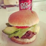Hamburger and Dr. Pepper