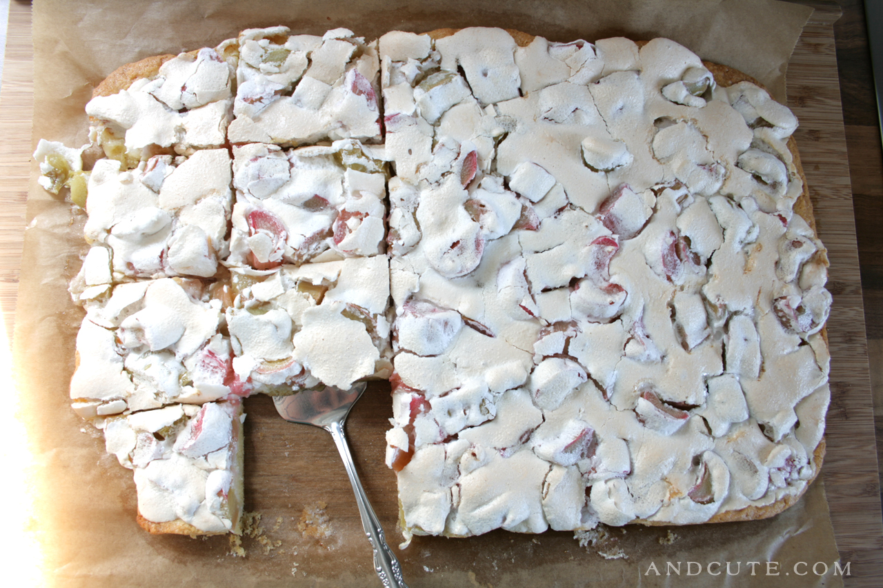 Rhubarb Meringue Sheet Cake