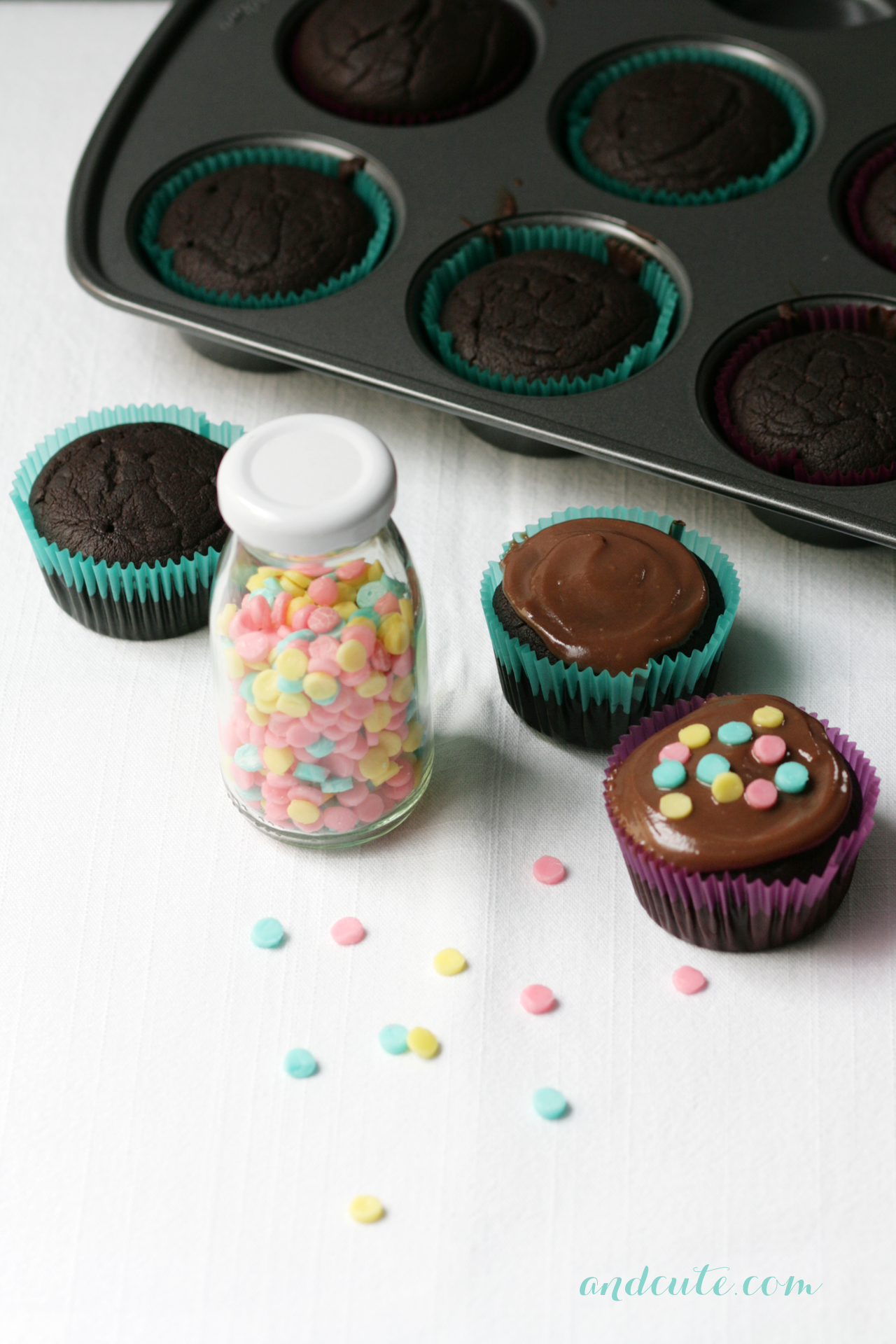 Cupcake Decorating with Confetti Sprinkles