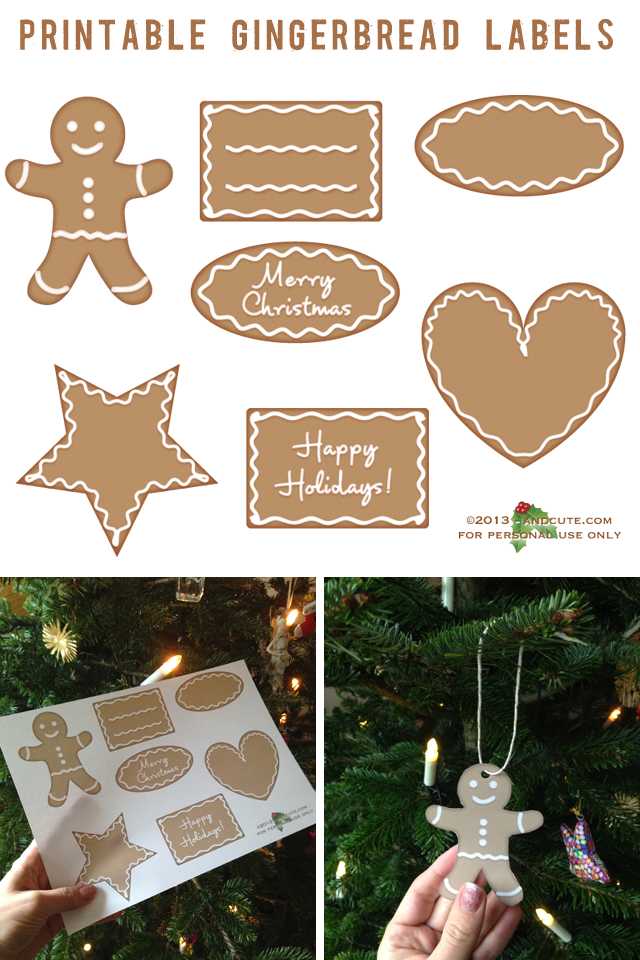 Printable Gingerbread Tags Labels Ornaments