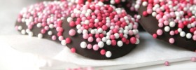 Pink Nonpareils Chocolates on Paper