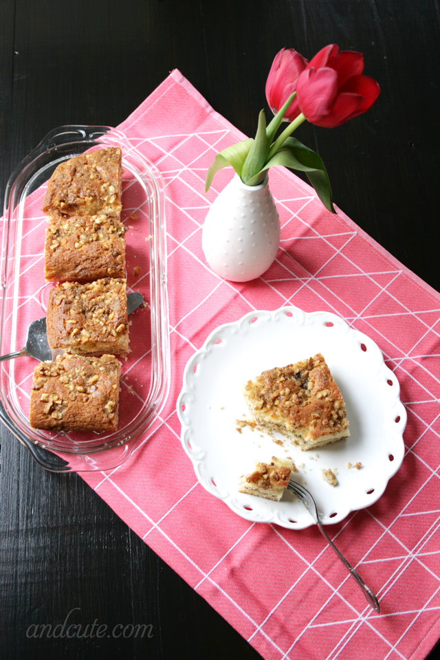 Cinnamon Swirl Coffee Cake with Walnut Crunch Topping