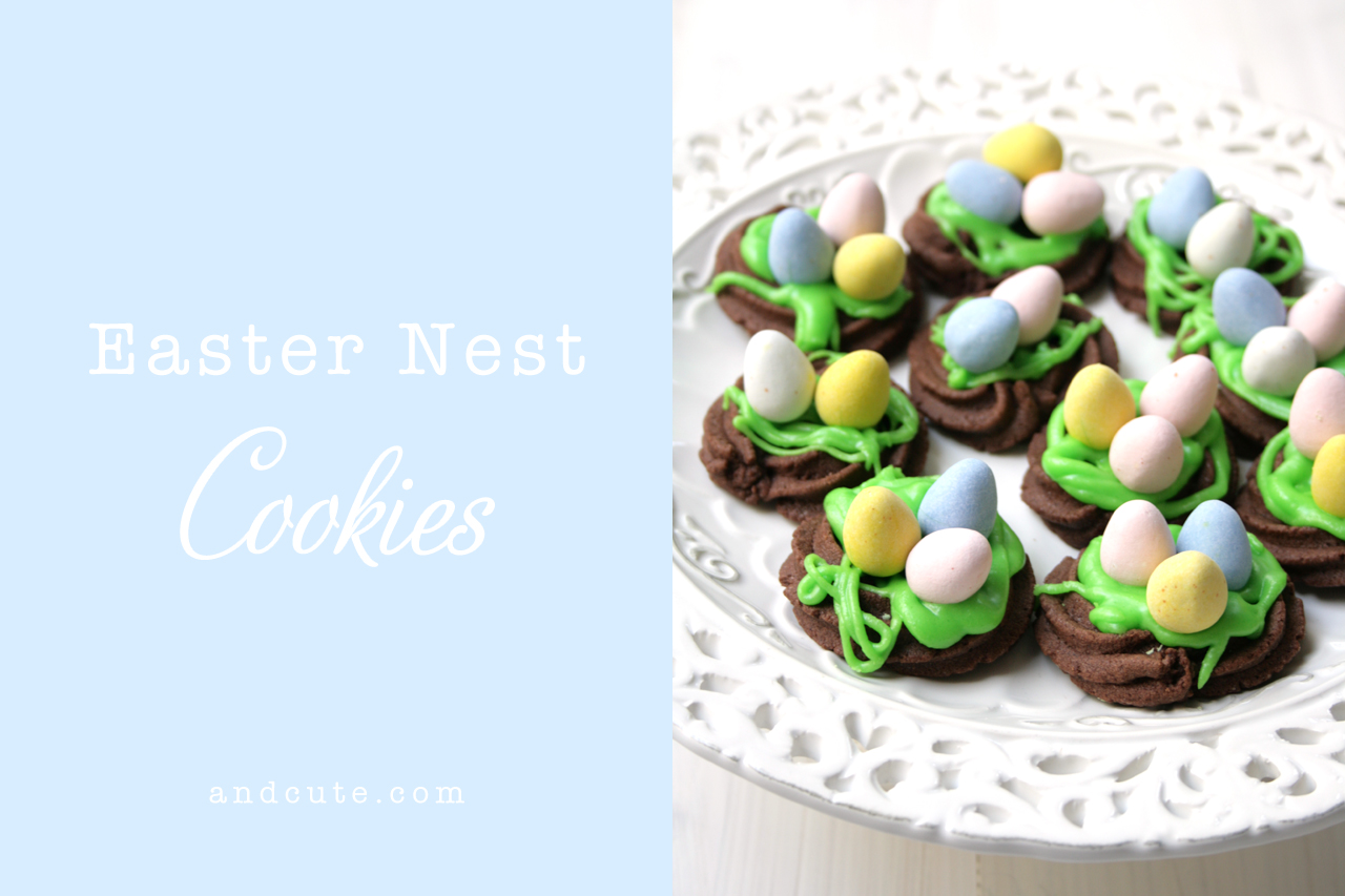Easter Nest Chocolate Cookies with Mini Eggs