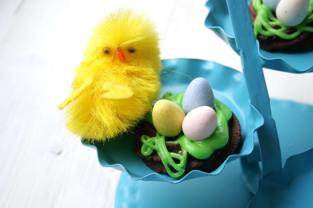 Spritz Cookie Nest with Chocolate Eggs and Chick