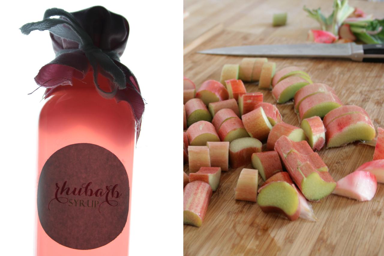 Homemade Rhubarb Syrup Pink Color