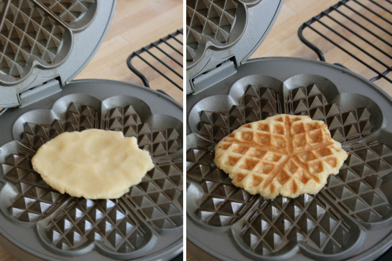 Cookie Waffles in Waffle Maker