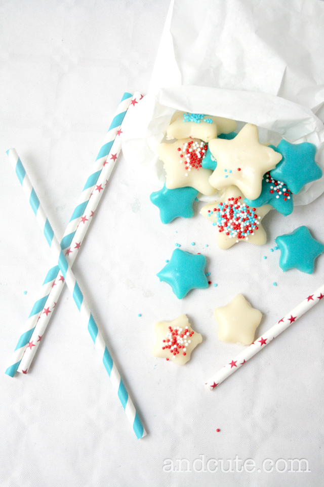 Red White and Blue Fondant covered Cookies
